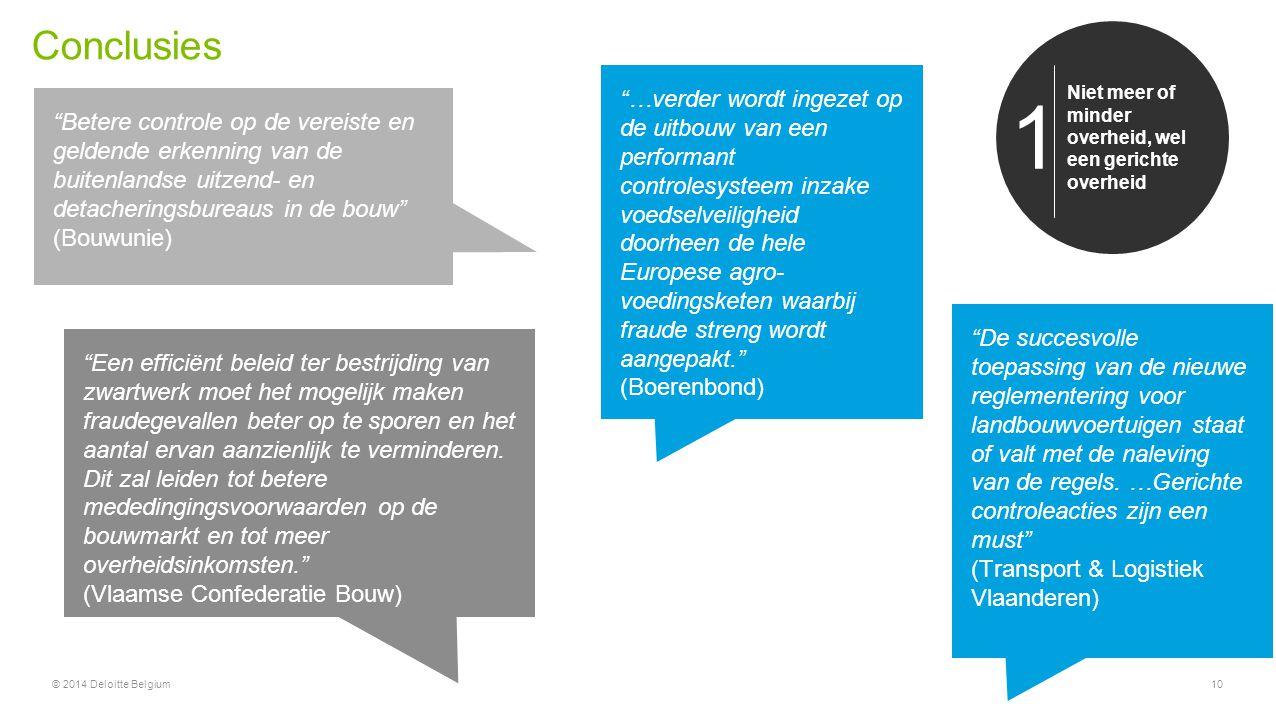"""Conclusies © 2014 Deloitte Belgium10 Niet meer of minder overheid, wel een gerichte overheid 1 """"Betere controle op de vereiste en geldende erkenning v"""