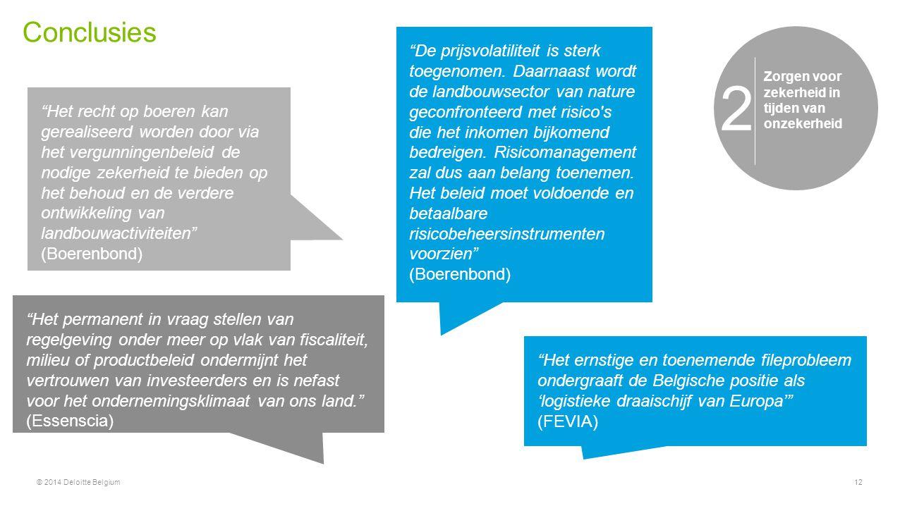 """Conclusies © 2014 Deloitte Belgium12 Niet meer of minder overheid, wel een gerichte overheid 1 """"Het recht op boeren kan gerealiseerd worden door via h"""