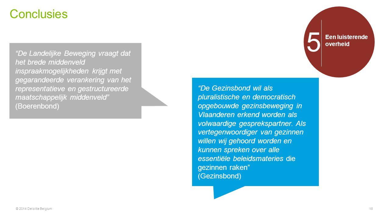 """Conclusies © 2014 Deloitte Belgium18 Een luisterende overheid 5 """"De Landelijke Beweging vraagt dat het brede middenveld inspraakmogelijkheden krijgt m"""