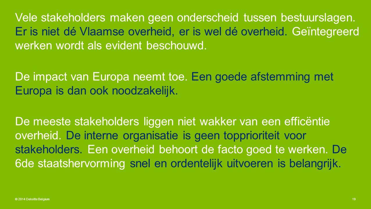 Vele stakeholders maken geen onderscheid tussen bestuurslagen. Er is niet dé Vlaamse overheid, er is wel dé overheid. Geïntegreerd werken wordt als ev