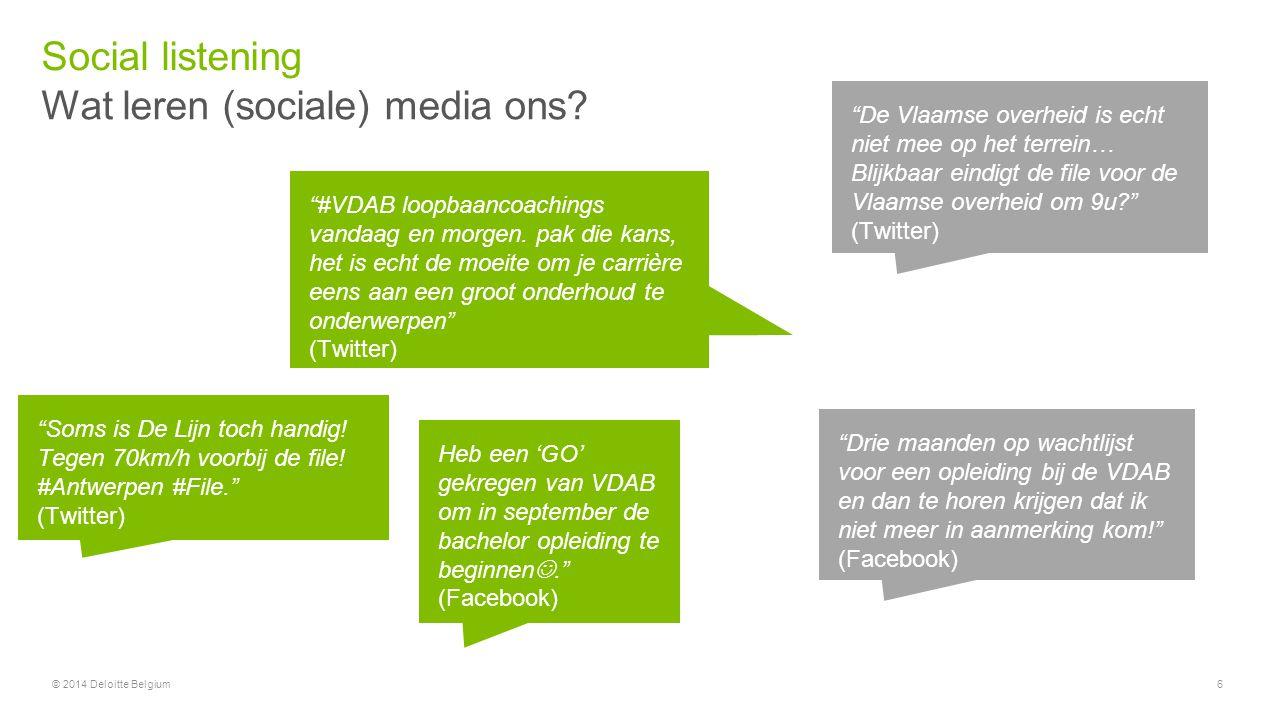 """© 2014 Deloitte Belgium6 Wat leren (sociale) media ons? Social listening """"#VDAB loopbaancoachings vandaag en morgen. pak die kans, het is echt de moei"""