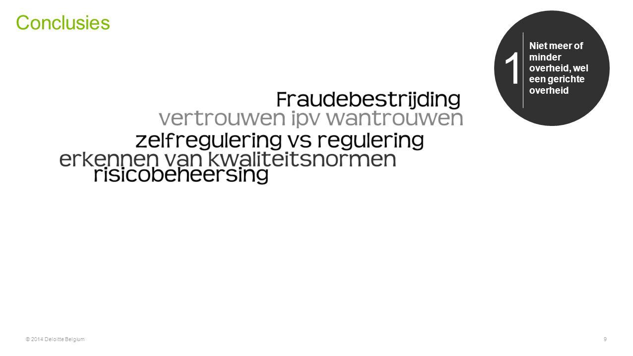 Conclusies © 2014 Deloitte Belgium9 Niet meer of minder overheid, wel een gerichte overheid 1