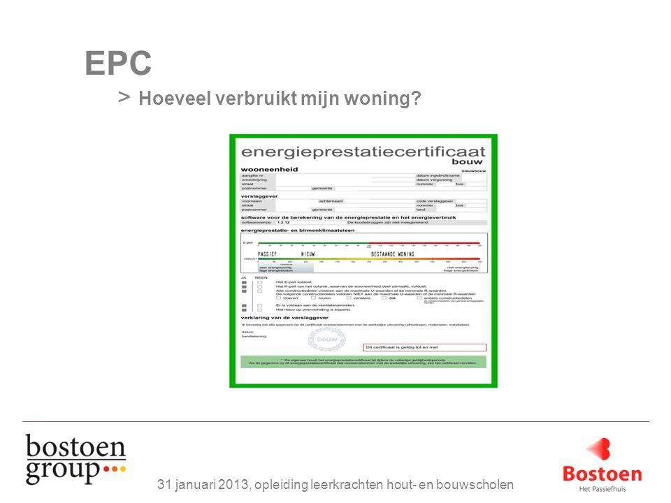 EPC > Hoeveel verbruikt mijn woning? 31 januari 2013, opleiding leerkrachten hout- en bouwscholen