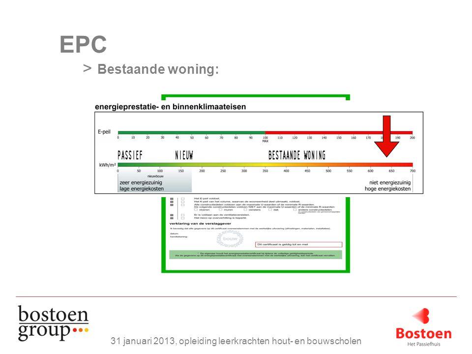 EPC > Bestaande woning: 31 januari 2013, opleiding leerkrachten hout- en bouwscholen