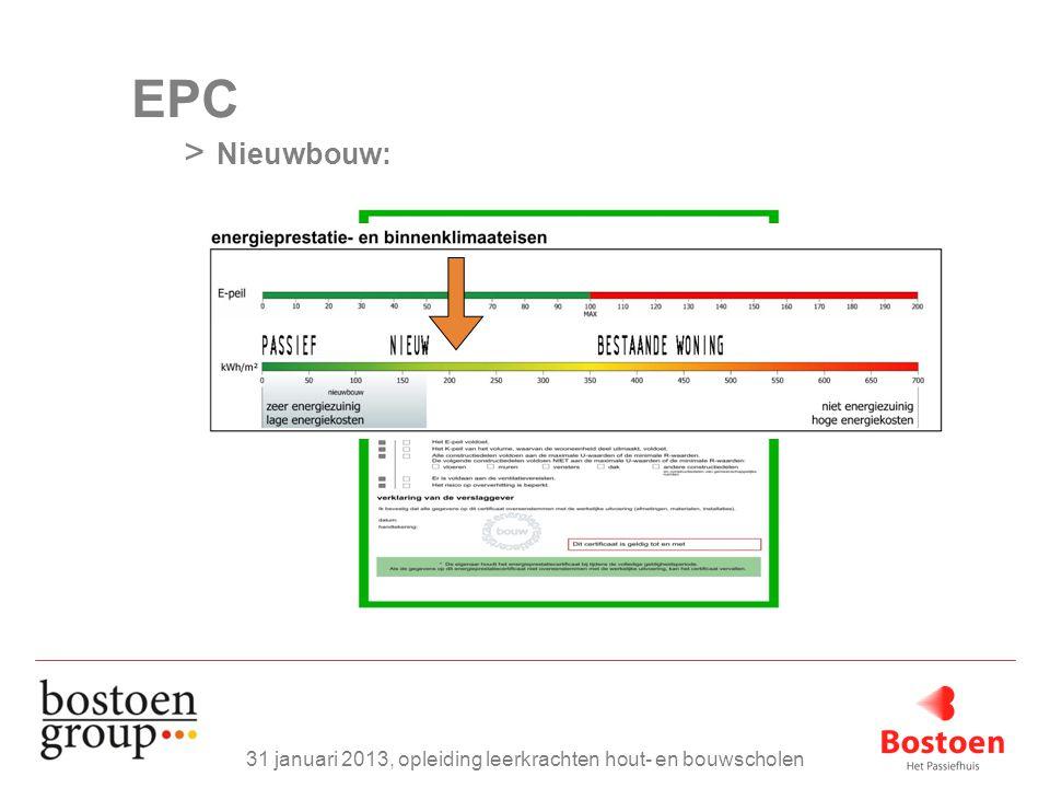 EPC > Nieuwbouw: 31 januari 2013, opleiding leerkrachten hout- en bouwscholen