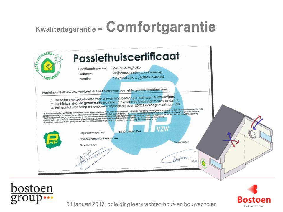 Kwaliteitsgarantie = Comfortgarantie 31 januari 2013, opleiding leerkrachten hout- en bouwscholen