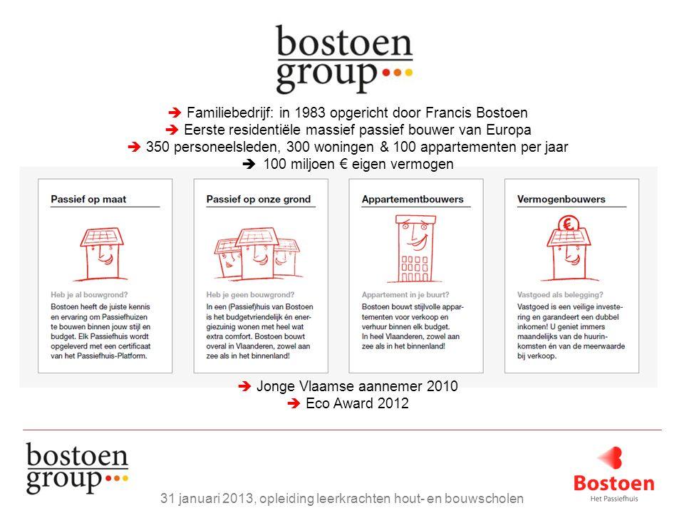  Familiebedrijf: in 1983 opgericht door Francis Bostoen  Eerste residentiële massief passief bouwer van Europa  350 personeelsleden, 300 woningen &