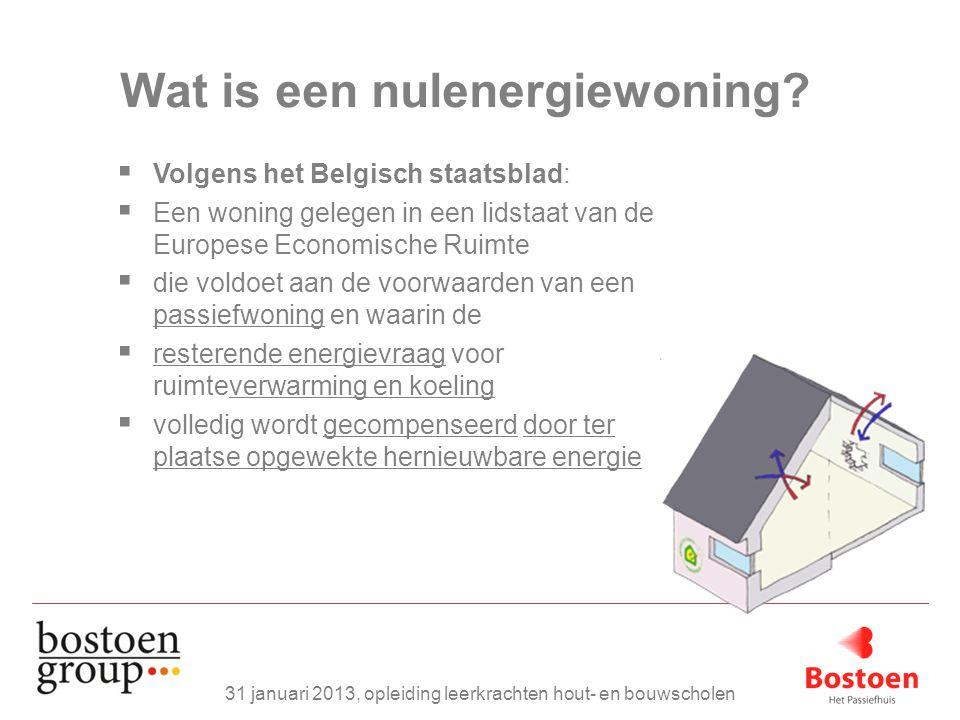 Wat is een nulenergiewoning?  Volgens het Belgisch staatsblad:  Een woning gelegen in een lidstaat van de Europese Economische Ruimte  die voldoet