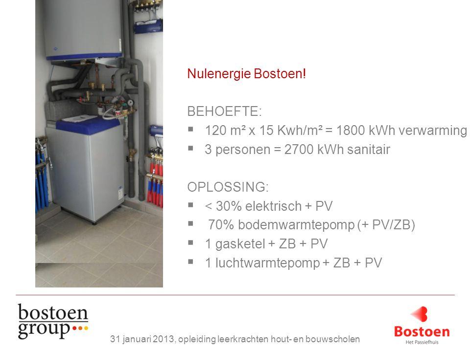 Nulenergie Bostoen! BEHOEFTE:  120 m² x 15 Kwh/m² = 1800 kWh verwarming  3 personen = 2700 kWh sanitair OPLOSSING:  < 30% elektrisch + PV  70% bod