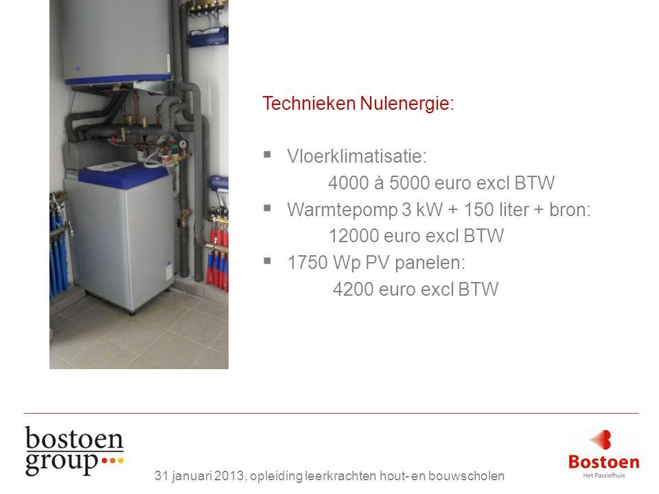Technieken Nulenergie:  Vloerklimatisatie: 4000 à 5000 euro excl BTW  Warmtepomp 3 kW + 150 liter + bron: 12000 euro excl BTW  1750 Wp PV panelen: 4200 euro excl BTW 31 januari 2013, opleiding leerkrachten hout- en bouwscholen