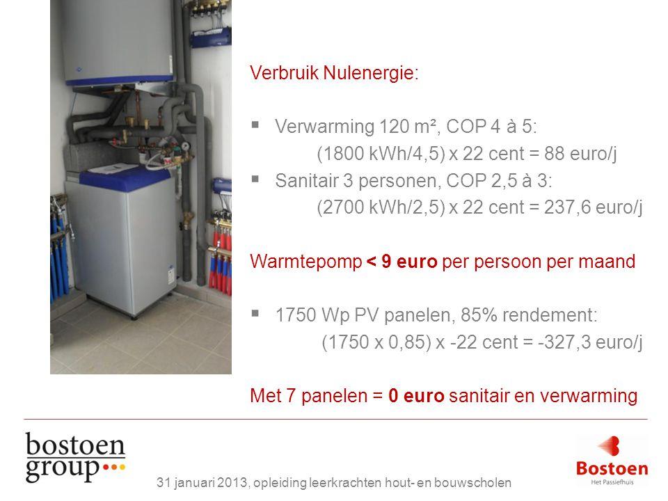 Verbruik Nulenergie:  Verwarming 120 m², COP 4 à 5: (1800 kWh/4,5) x 22 cent = 88 euro/j  Sanitair 3 personen, COP 2,5 à 3: (2700 kWh/2,5) x 22 cent = 237,6 euro/j Warmtepomp < 9 euro per persoon per maand  1750 Wp PV panelen, 85% rendement: (1750 x 0,85) x -22 cent = -327,3 euro/j Met 7 panelen = 0 euro sanitair en verwarming 31 januari 2013, opleiding leerkrachten hout- en bouwscholen