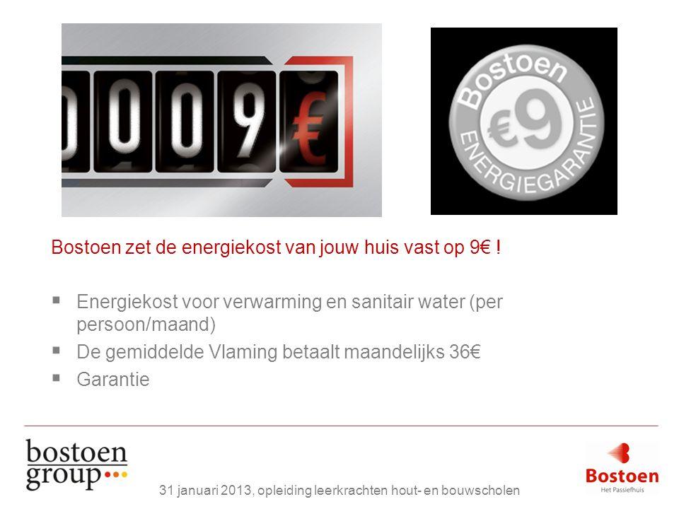 Bostoen zet de energiekost van jouw huis vast op 9€ !  Energiekost voor verwarming en sanitair water (per persoon/maand)  De gemiddelde Vlaming beta