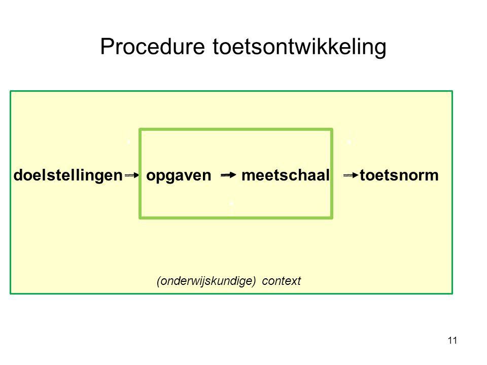 Procedure toetsontwikkeling doelstellingenopgavenmeetschaaltoetsnorm 11 (onderwijskundige) context
