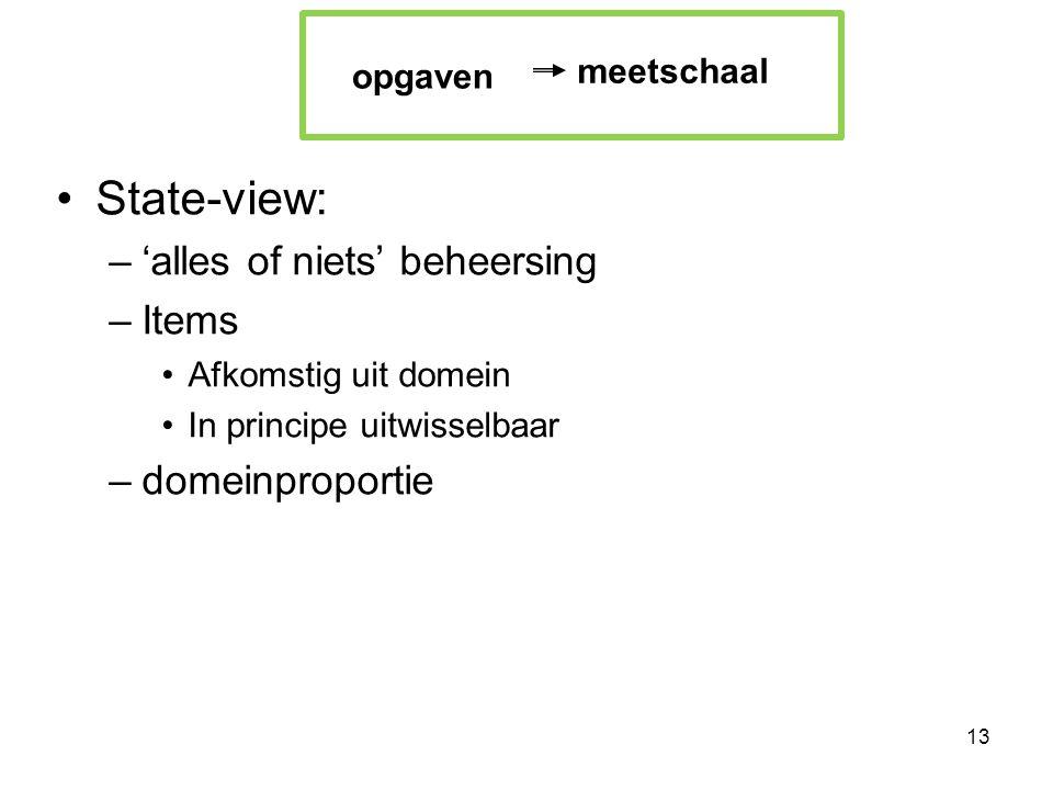 •State-view: –'alles of niets' beheersing –Items •Afkomstig uit domein •In principe uitwisselbaar –domeinproportie 13 meetschaal opgaven