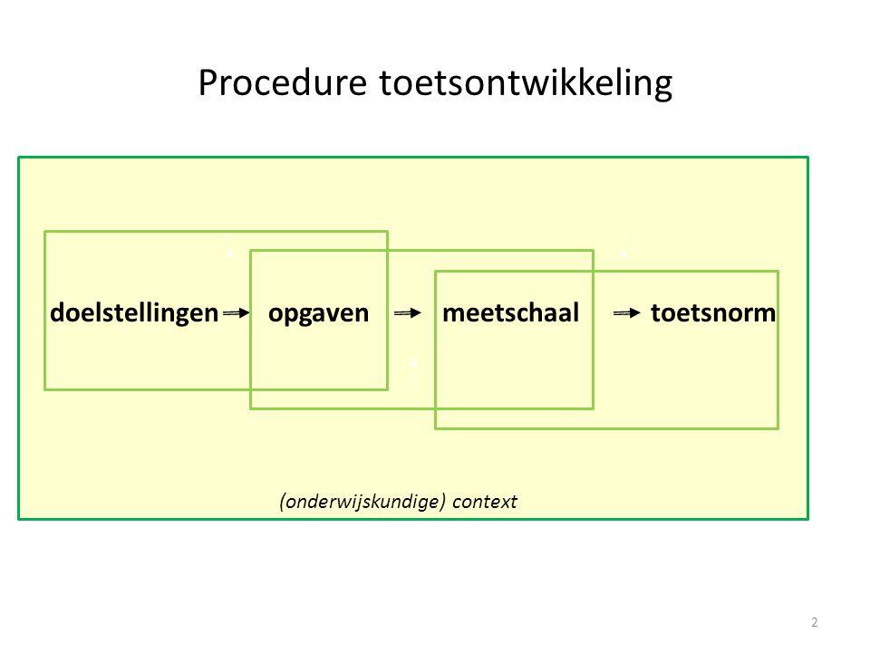 Procedure toetsontwikkeling doelstellingenopgavenmeetschaaltoetsnorm 3 (onderwijskundige) context