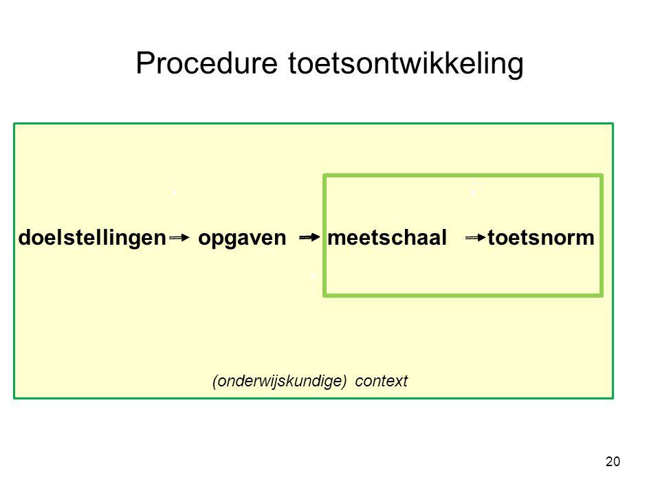 Procedure toetsontwikkeling doelstellingenopgavenmeetschaaltoetsnorm 20 (onderwijskundige) context
