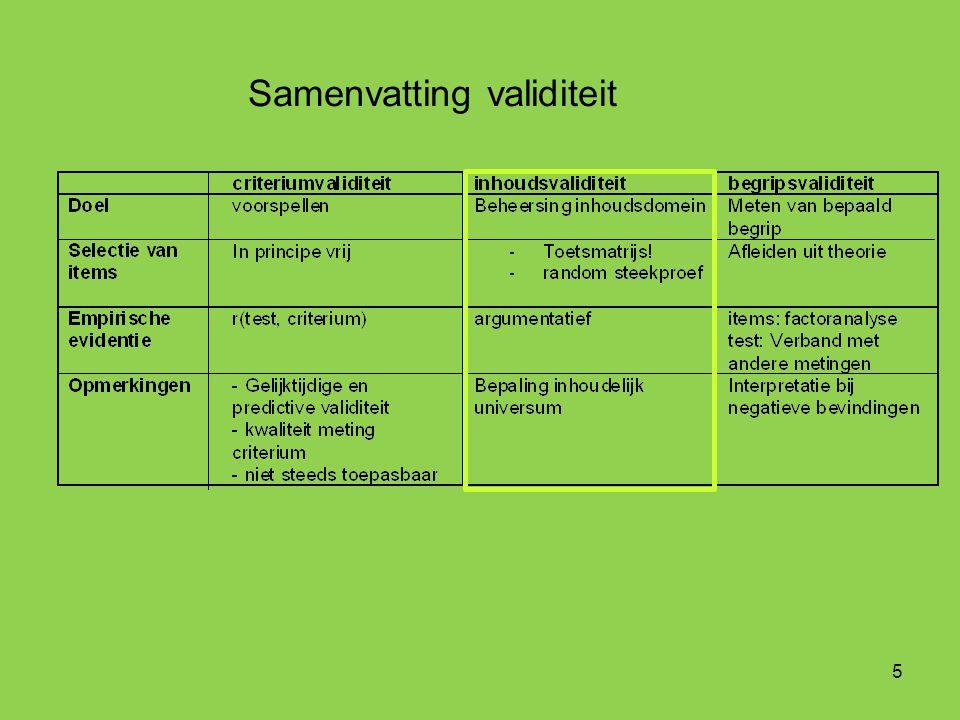 5 Samenvatting validiteit