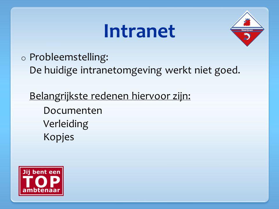 Intranet o Probleemstelling: De huidige intranetomgeving werkt niet goed.