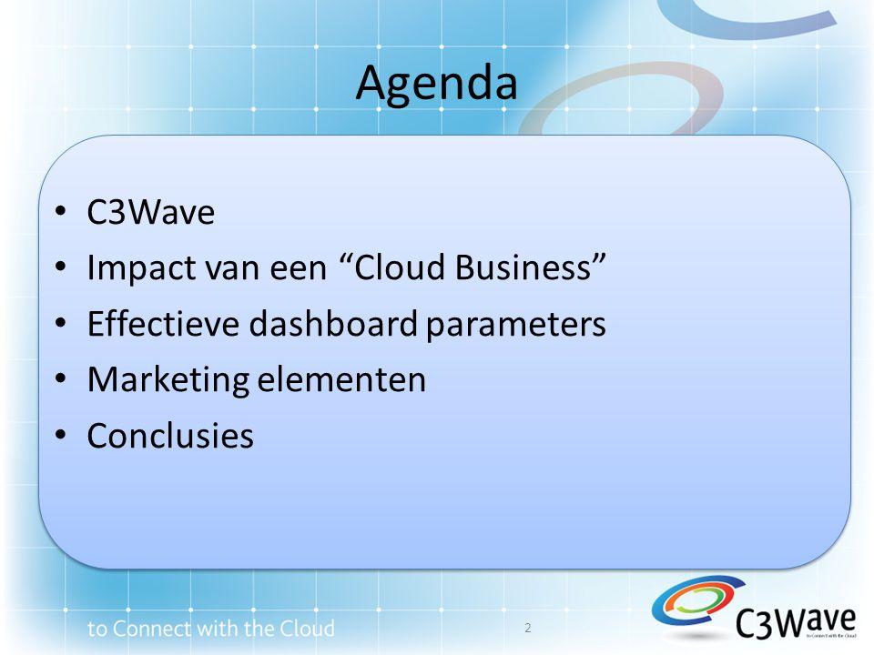 Over C3Wave • Cloud zal een disruptief effect hebben op het IT Eco-System – Cloud – Channel – Customer • Cloud opportuniteiten en challenges moeten benaderd worden vanuit een business perspektief, niet enkel vanuit een technologisch perspectief • Opgericht in 2009 door Stephan Engelen en Luc Van Ballaer; brede nationale en internationale ervaring rond technologie, IT en Business – Start-up, groei en mature bedrijven – Meer dan 10 jaar ervaring in change management met technologie bedrijven – Meer dan 5 jaar ervaring in cloud computing en technologie impact 3