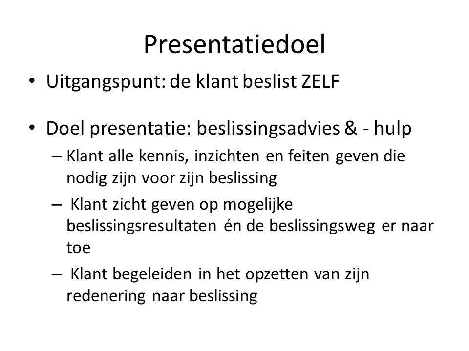 Presentatiedoel • Uitgangspunt: de klant beslist ZELF • Doel presentatie: beslissingsadvies & - hulp – Klant alle kennis, inzichten en feiten geven di