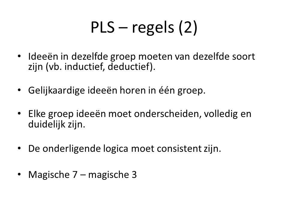 PLS – regels (2) • Ideeën in dezelfde groep moeten van dezelfde soort zijn (vb. inductief, deductief). • Gelijkaardige ideeën horen in één groep. • El