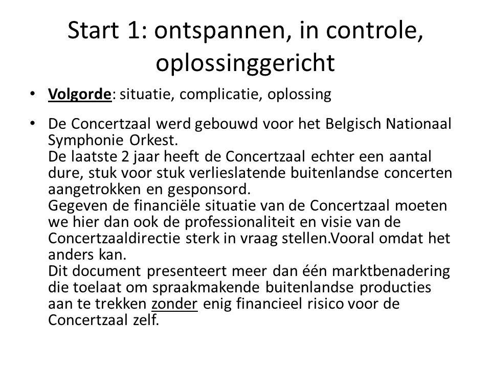 Start 1: ontspannen, in controle, oplossinggericht • Volgorde: situatie, complicatie, oplossing • De Concertzaal werd gebouwd voor het Belgisch Nation