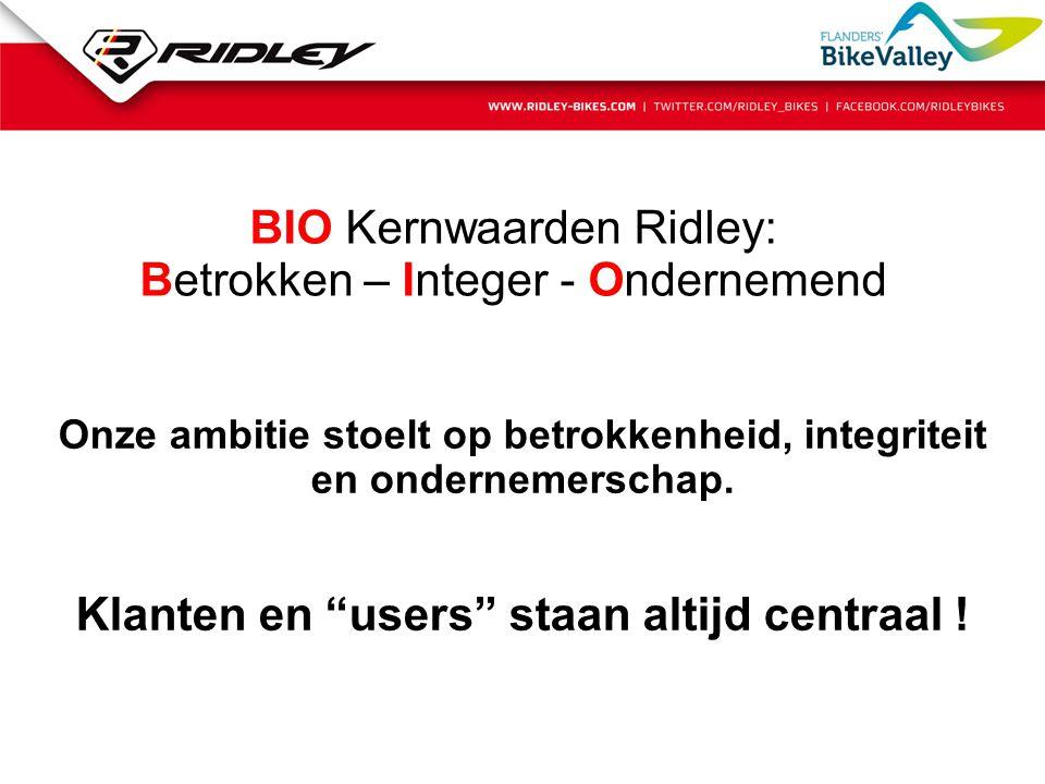 """BIO Kernwaarden Ridley: Betrokken – Integer - Ondernemend Onze ambitie stoelt op betrokkenheid, integriteit en ondernemerschap. Klanten en """"users"""" sta"""