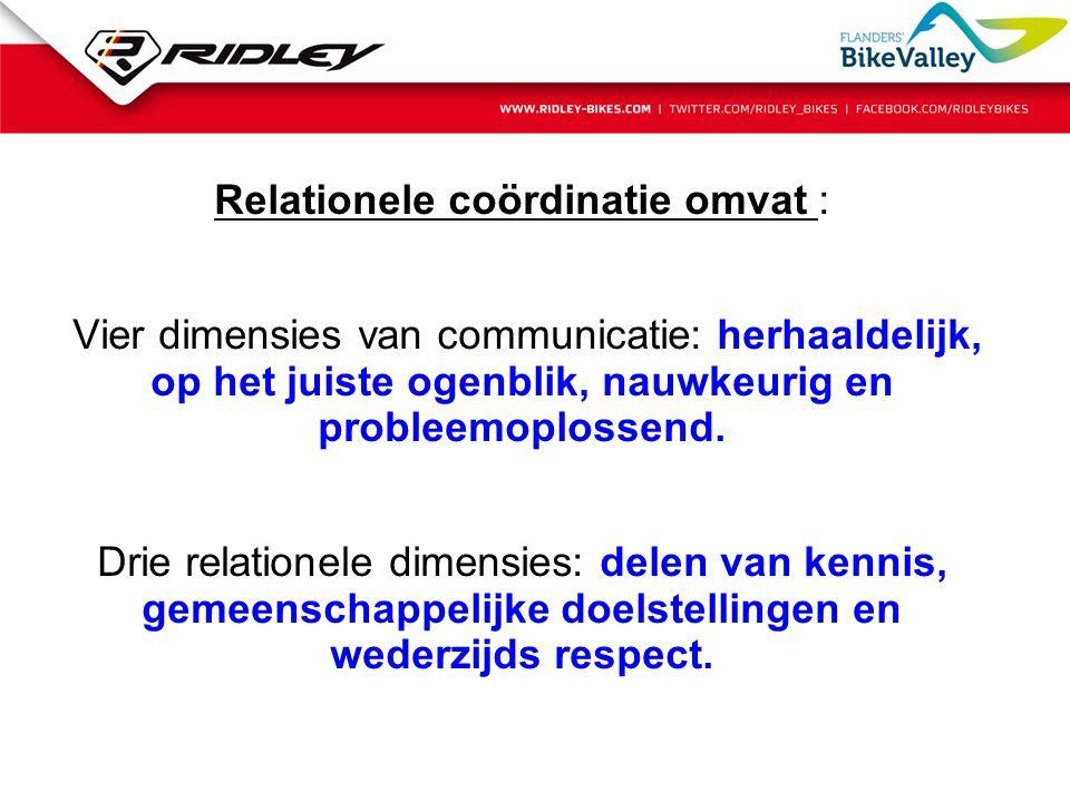 Relationele coördinatie omvat : Vier dimensies van communicatie: herhaaldelijk, op het juiste ogenblik, nauwkeurig en probleemoplossend. Drie relation