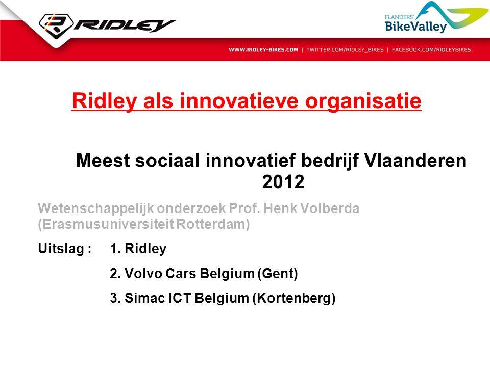 Ridley als innovatieve organisatie Meest sociaal innovatief bedrijf Vlaanderen 2012 Wetenschappelijk onderzoek Prof. Henk Volberda (Erasmusuniversitei