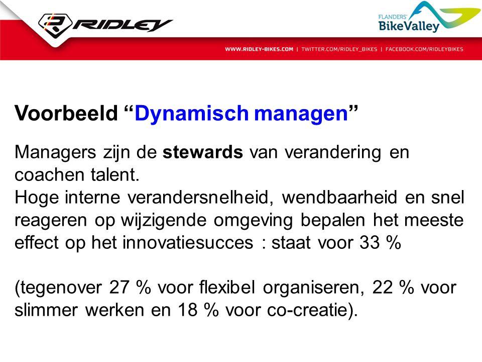 """Voorbeeld """"Dynamisch managen"""" Managers zijn de stewards van verandering en coachen talent. Hoge interne verandersnelheid, wendbaarheid en snel reagere"""