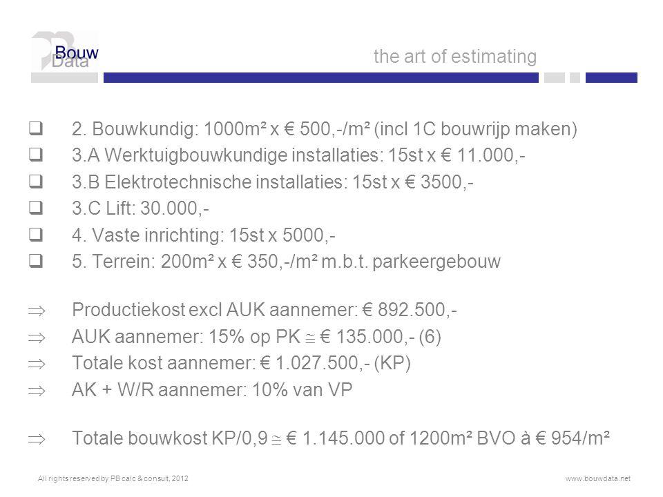  2. Bouwkundig: 1000m² x € 500,-/m² (incl 1C bouwrijp maken)  3.A Werktuigbouwkundige installaties: 15st x € 11.000,-  3.B Elektrotechnische instal