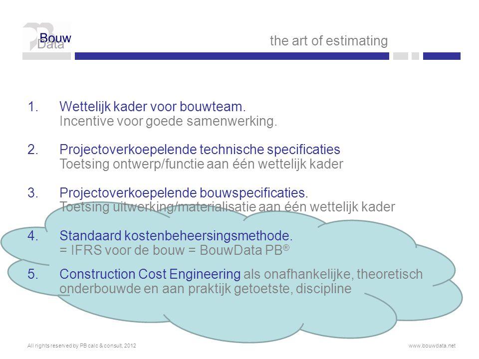  Architect = B-Architecten  Ratio's ontwerp:  GO/BVO  85%  P/GO  85%  Bijstelling doelstelling:  Parkeergebouw: deel op te vullen terrein, deel bergingen  Budget bouwkosten € 1.050.000,- of 1200m² BVO à € 875,-/m²  Risico: 5% bij de bijkomende kosten  Nodig vlgs PB calc & consult  Te vermijden vlgs bouwheer  In hoofdstuk 8 geplaatst  druk op bouwteam  opgenomen in investeringsbudget All rights reserved by PB calc & consult, 2012www.bouwdata.net the art of estimating