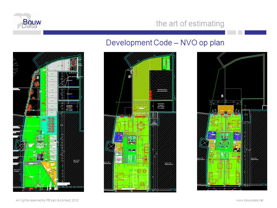 Development Code – NVO op plan All rights reserved by PB calc & consult, 2012www.bouwdata.net the art of estimating
