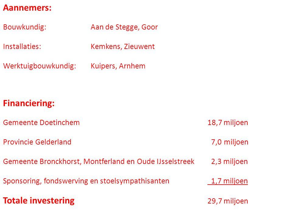 Aannemers: Bouwkundig:Aan de Stegge, Goor Installaties:Kemkens, Zieuwent Werktuigbouwkundig:Kuipers, Arnhem Financiering: Gemeente Doetinchem18,7 miljoen Provincie Gelderland 7,0 miljoen Gemeente Bronckhorst, Montferland en Oude IJsselstreek 2,3 miljoen Sponsoring, fondswerving en stoelsympathisanten 1,7 miljoen Totale investering 29,7 miljoen