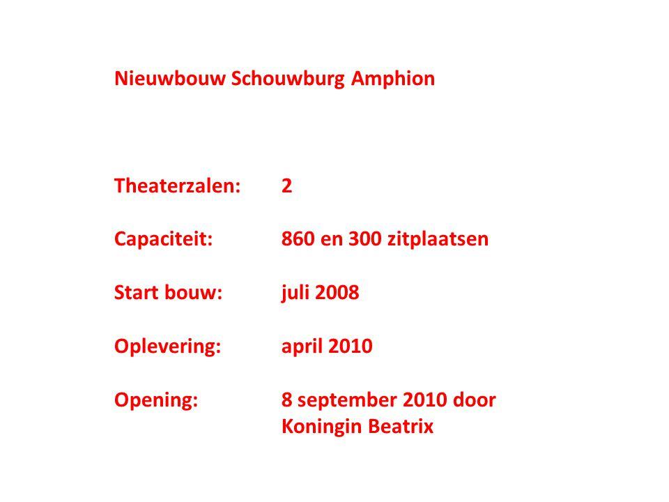 Nieuwbouw Schouwburg Amphion Theaterzalen:2 Capaciteit:860 en 300 zitplaatsen Start bouw:juli 2008 Oplevering:april 2010 Opening:8 september 2010 door Koningin Beatrix