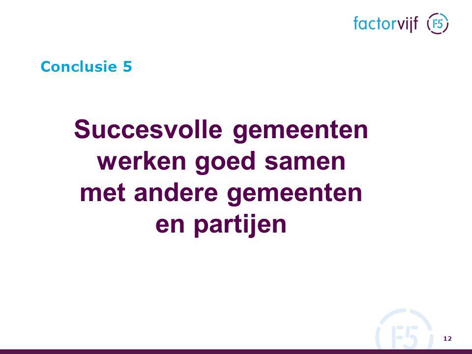 Conclusie 5 Succesvolle gemeenten werken goed samen met andere gemeenten en partijen 12