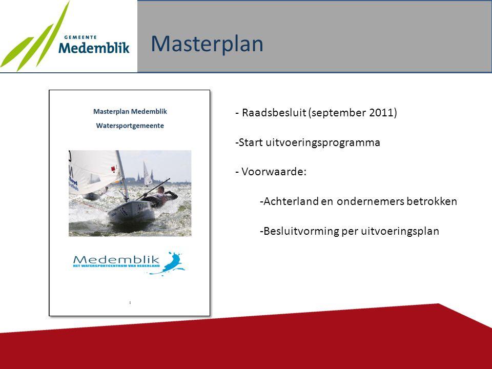 Masterplan 10 - Raadsbesluit (september 2011) -Start uitvoeringsprogramma - Voorwaarde: -Achterland en ondernemers betrokken -Besluitvorming per uitvo