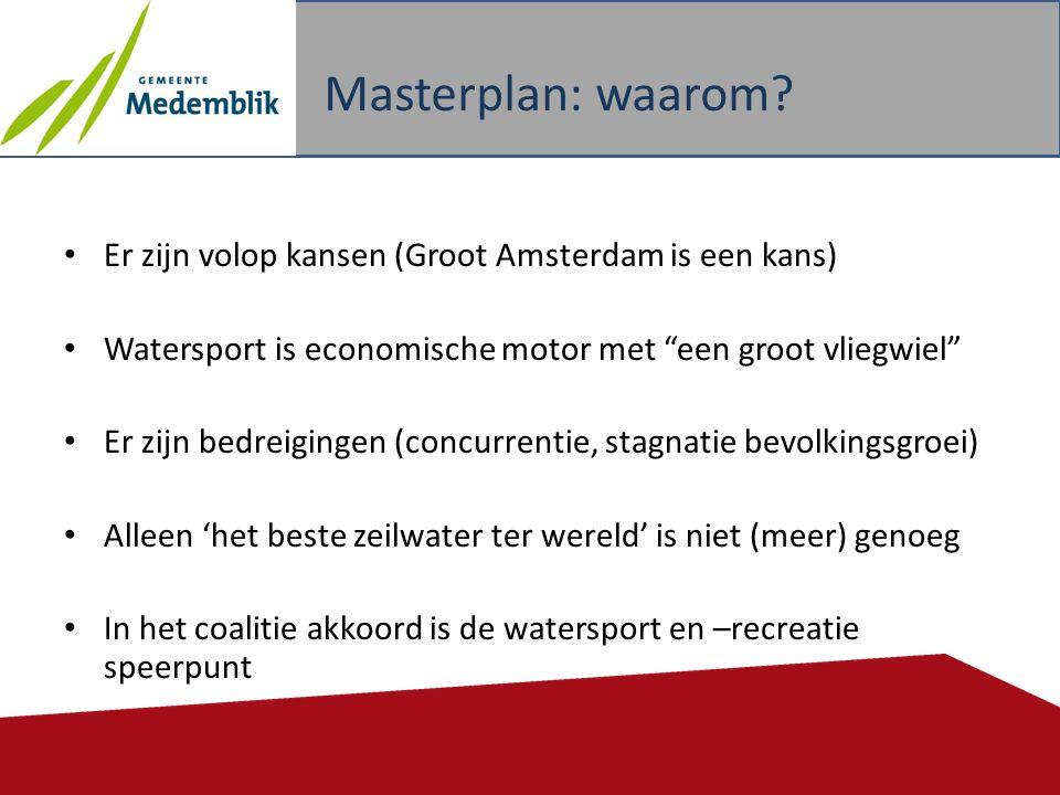 """• Er zijn volop kansen (Groot Amsterdam is een kans) • Watersport is economische motor met """"een groot vliegwiel"""" • Er zijn bedreigingen (concurrentie,"""