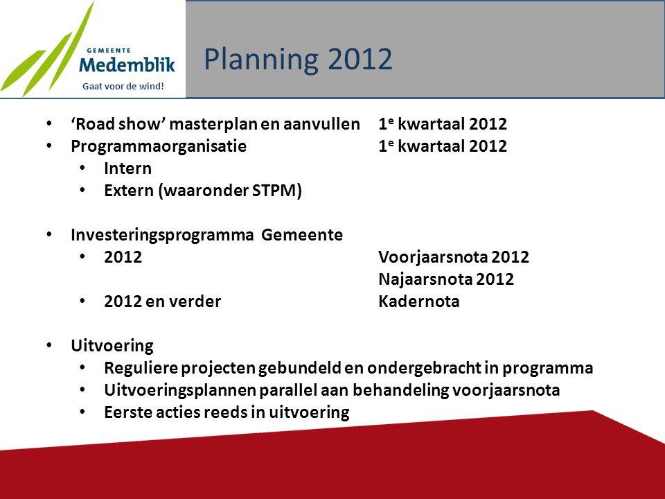 Gaat voor de wind! Planning 2012 16 • 'Road show' masterplan en aanvullen1 e kwartaal 2012 • Programmaorganisatie 1 e kwartaal 2012 • Intern • Extern