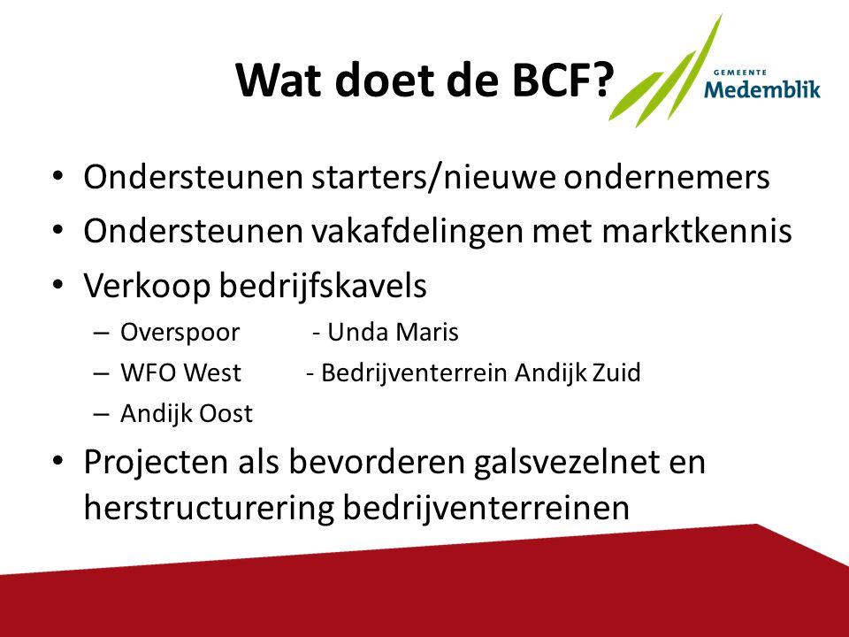Wat doet de BCF? • Ondersteunen starters/nieuwe ondernemers • Ondersteunen vakafdelingen met marktkennis • Verkoop bedrijfskavels – Overspoor - Unda M