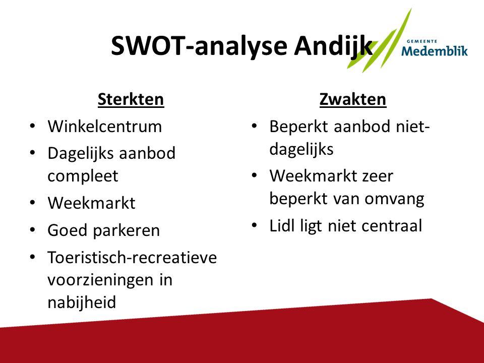 SWOT-analyse Andijk Sterkten • Winkelcentrum • Dagelijks aanbod compleet • Weekmarkt • Goed parkeren • Toeristisch-recreatieve voorzieningen in nabijh