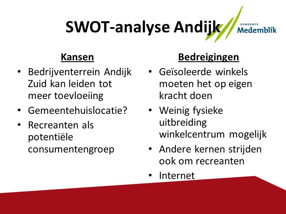 SWOT-analyse Andijk Kansen • Bedrijventerrein Andijk Zuid kan leiden tot meer toevloeiing • Gemeentehuislocatie? • Recreanten als potentiële consument