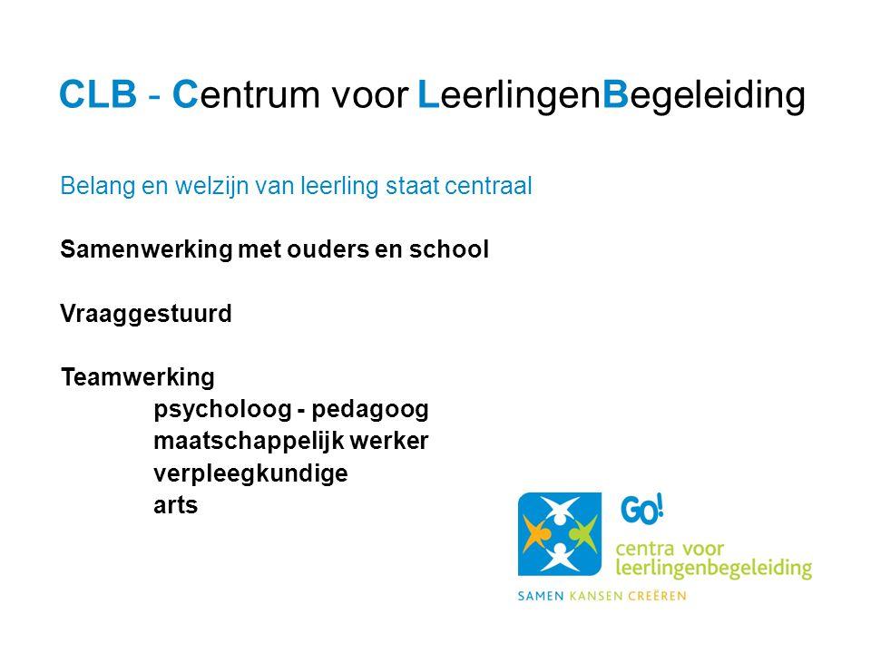 Belang en welzijn van leerling staat centraal Samenwerking met ouders en school Vraaggestuurd Teamwerking psycholoog - pedagoog maatschappelijk werker verpleegkundige arts CLB - Centrum voor LeerlingenBegeleiding