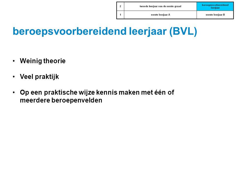 beroepsvoorbereidend leerjaar (BVL) •Weinig theorie •Veel praktijk •Op een praktische wijze kennis maken met één of meerdere beroepenvelden