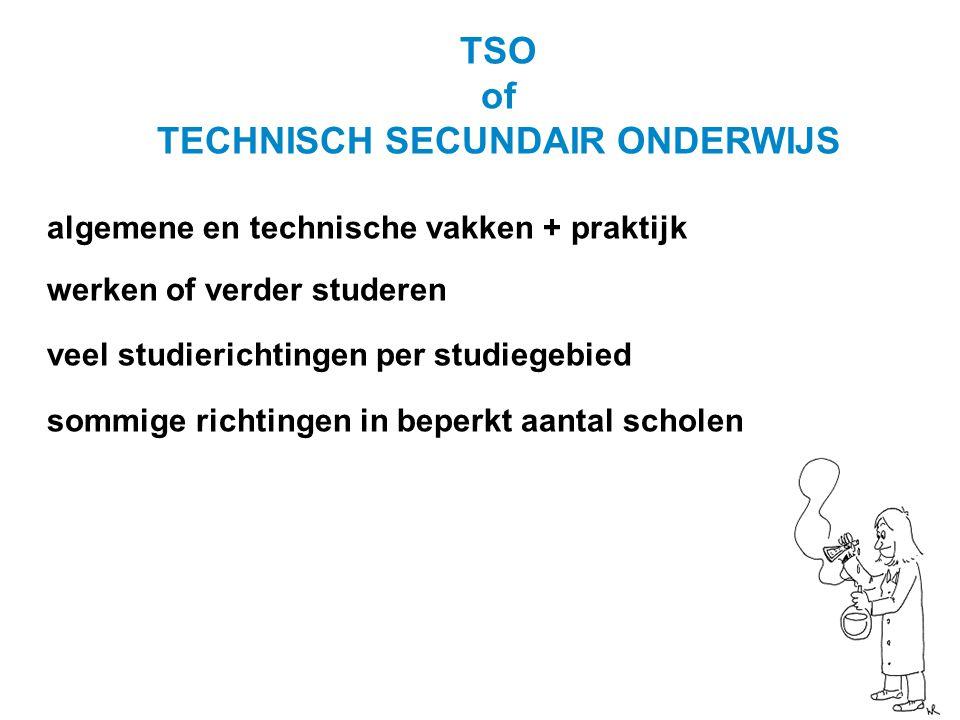 TSO of TECHNISCH SECUNDAIR ONDERWIJS algemene en technische vakken + praktijk werken of verder studeren veel studierichtingen per studiegebied sommige richtingen in beperkt aantal scholen