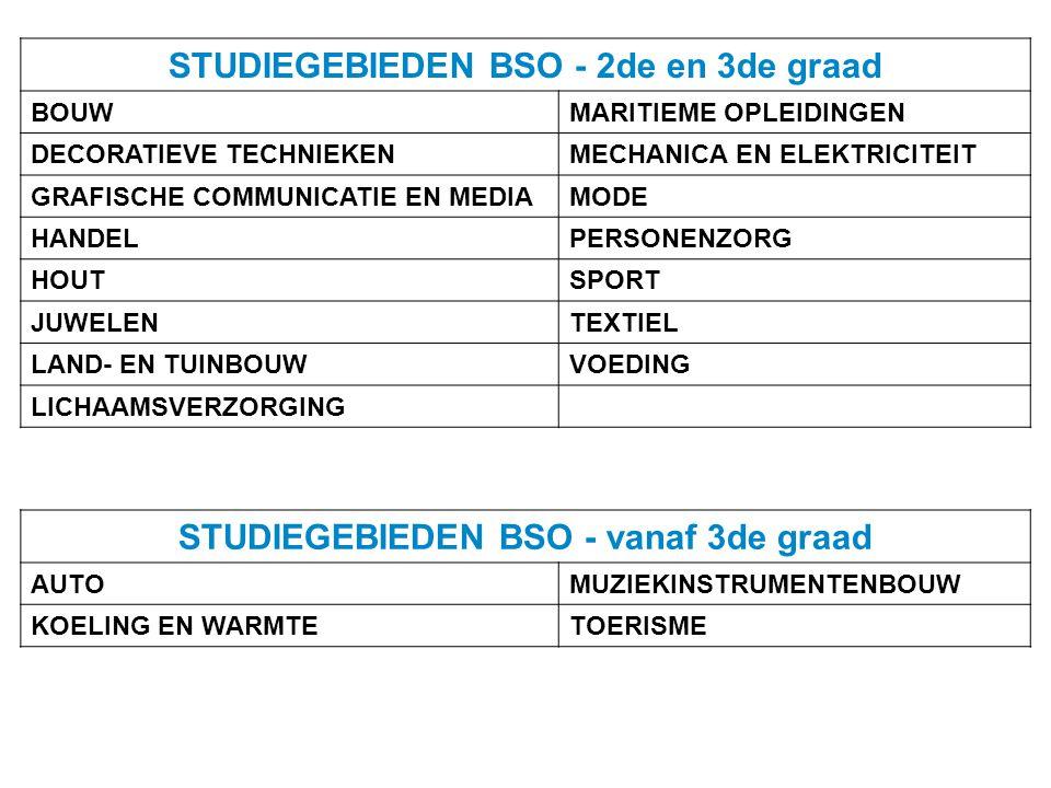 STUDIEGEBIEDEN BSO - 2de en 3de graad BOUWMARITIEME OPLEIDINGEN DECORATIEVE TECHNIEKENMECHANICA EN ELEKTRICITEIT GRAFISCHE COMMUNICATIE EN MEDIA MODE