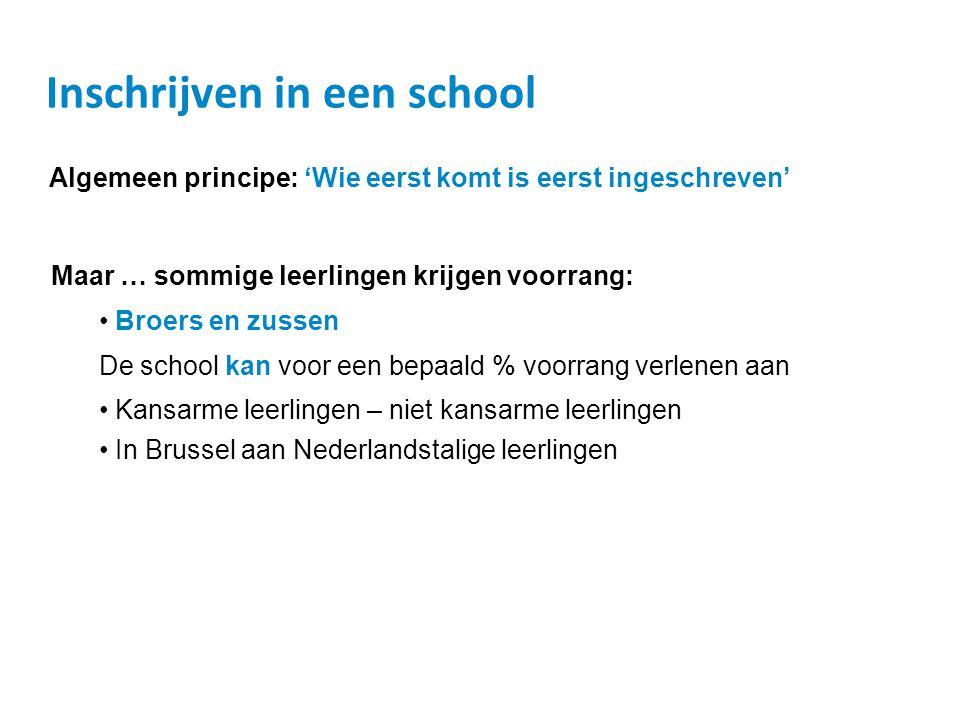 Inschrijven in een school Algemeen principe: 'Wie eerst komt is eerst ingeschreven' Maar … sommige leerlingen krijgen voorrang: • Broers en zussen De school kan voor een bepaald % voorrang verlenen aan • Kansarme leerlingen – niet kansarme leerlingen • In Brussel aan Nederlandstalige leerlingen