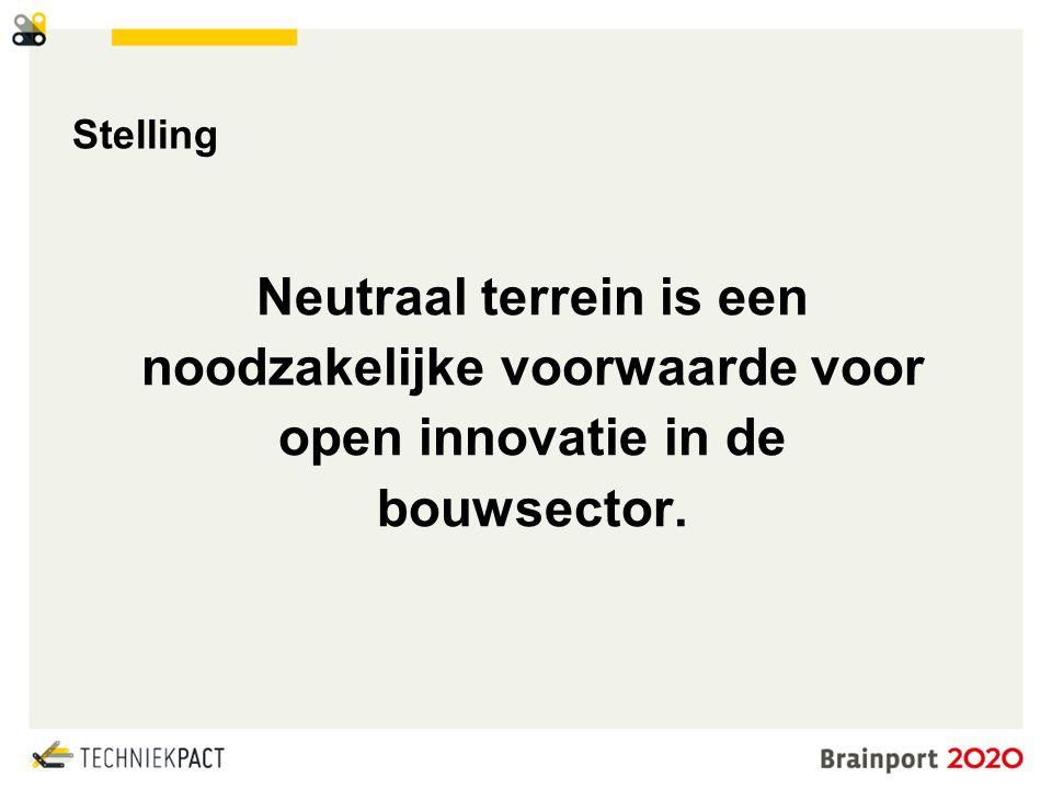 © Brainport Development, 2014 De kracht van samenwerking 15 Stelling Neutraal terrein is een noodzakelijke voorwaarde voor open innovatie in de bouwsector.