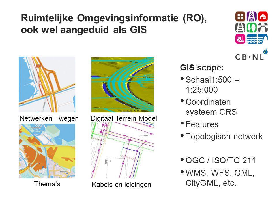 Ruimtelijke Omgevingsinformatie (RO), ook wel aangeduid als GIS GIS scope: • Schaal1:500 – 1:25:000 • Coordinaten systeem CRS • Features • Topologisch