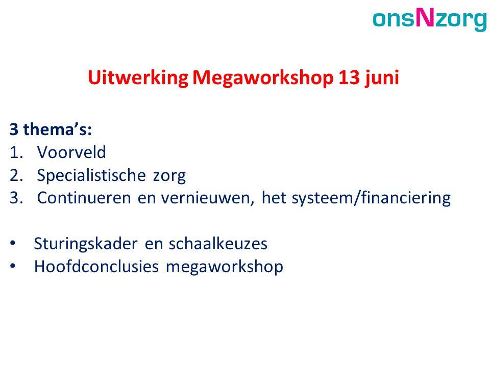 Uitwerking Megaworkshop 13 juni 3 thema's: 1.Voorveld 2.Specialistische zorg 3.Continueren en vernieuwen, het systeem/financiering • Sturingskader en